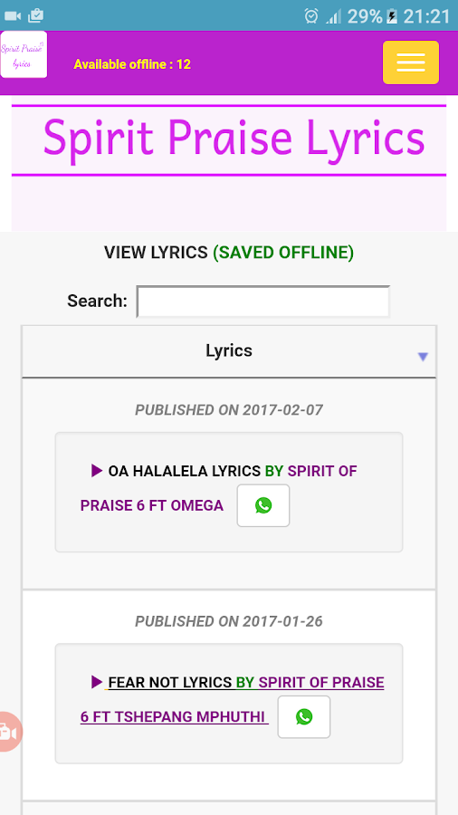 SPIRIT PRAISE LYRICS- screenshot