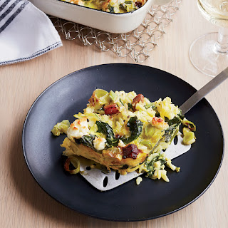 Custardy Baked Orzo with Spinach, Bacon and Feta Recipe