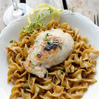 Chicken with Lemon-Thyme Egg Noodles.