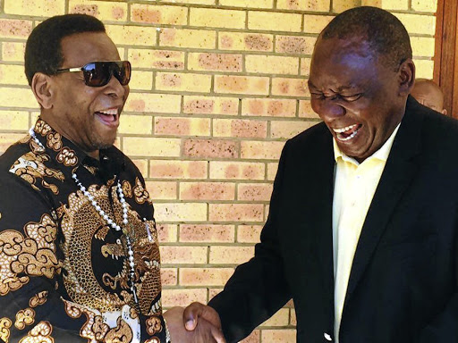 King Goodwill Zwelithini and Deputy President Cyril Ramaphosa in jovial mood yesterday.