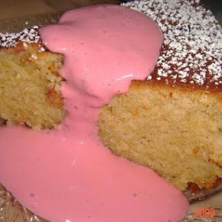 Chelley's Greek Yogurt Cake With Raspberry Yogurt Sauce