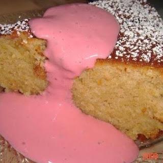 Chelley's Greek Yogurt Cake With Raspberry Yogurt Sauce.