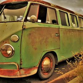 Vintage Green by Benito Flores Jr - Transportation Automobiles ( vw, bus, temple, texas, car show )