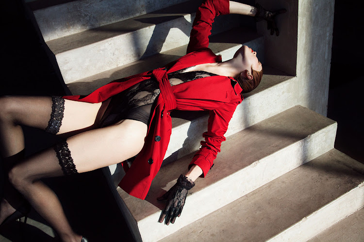 Trench coat, R33 890, Burberry; stockings, R715; bodysuit, R3 570, both Wolford; court shoes, R12 995, Versace Collection