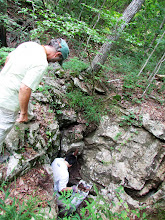 Photo: Chris watchingPark collecting litter from second cave entrance