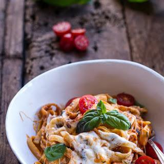 One Pot 30 Minute Creamy Tomato Basil Pasta Bake..