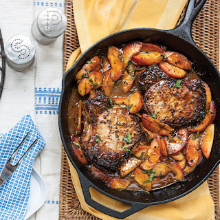 Bourbon Pork Chops with Grilled Peaches