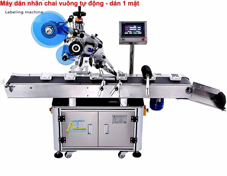 máy dán nhãn mặt phẳng tự động kết hợp dây chuyền hiện đại
