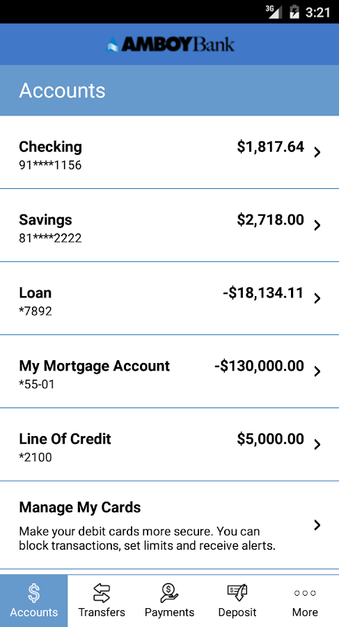 Amboy Bank's Mobile Banking- screenshot