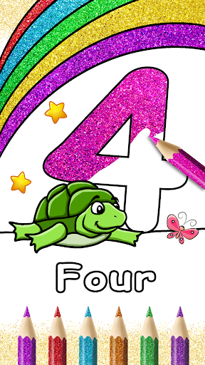 Glitter Number and letters coloring Book for kids screenshot 3