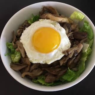 Mixed Mushroom Rice with Toasted Sesame Oil Sauce (Bibimbap).