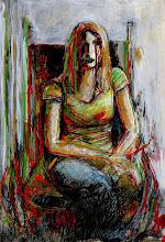 "Photo: Figure, Brenda Clews, 2012, 21cm x 29cm, 8"" x 11.5"", 2012, India and acrylic inks, Moleskine folio Sketchbook."