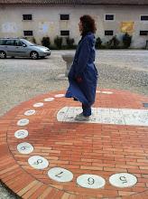 Photo: Patty as apart of the sun dial in Gorizia