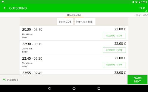 FlixBus bus app- screenshot thumbnail