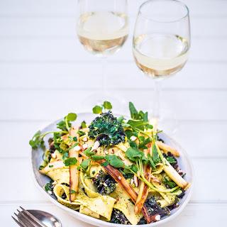 Pappardelle with Artichoke & Almond Sauce, Purple Kale & White Asparagus Recipe