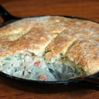 Chicken (or Turkey) Pot Pie with Cheese-y Biscuit Topping