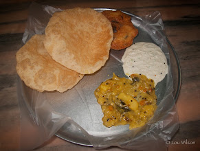 Photo: Breakfast In Pondy Puri (Poori), Medu Vada, Sambar and Potato Curry  Pondicherry India