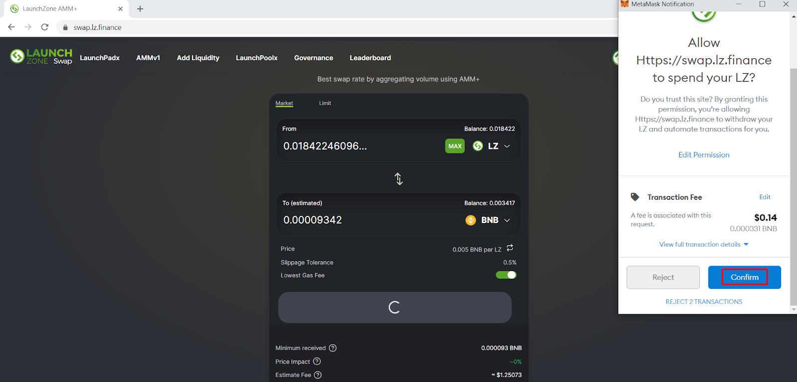 Confirm ví để hoàn tất quá trình Approve Token.