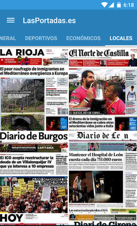 Spanish Newspaper Front Pages- screenshot