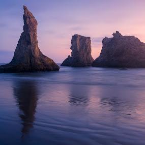 Wizard's Hat by Jeff Fahrenbruch - Landscapes Beaches ( oregon, bandon beach, sunset, ocean, beach, wizard's hat )