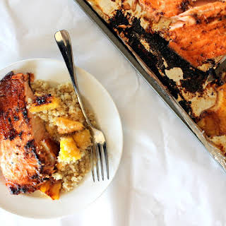 Brown Sugar Honey Marinated Salmon with Caramelized Pineapple Quinoa.