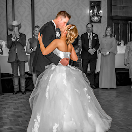 Kissing, Dancing, and More by Matthew Chambers - Wedding Bride & Groom ( bride, love, dancing, groom, white, beauty, selective color, kissing, blonde, black and white )