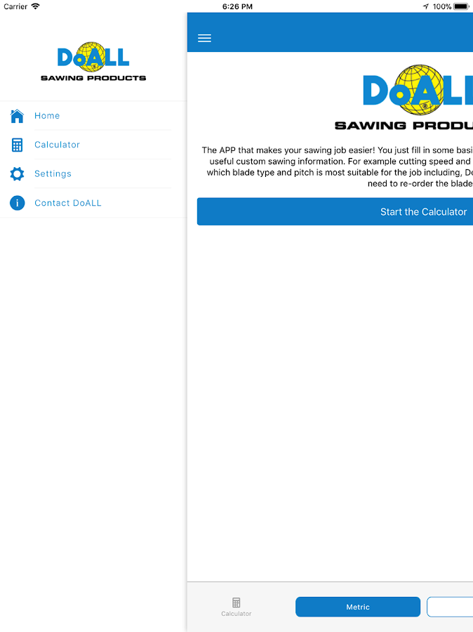 DoALL band saw blade calculator- screenshot