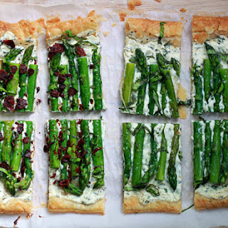 Asparagus, Basil, & Cream Cheese Tart with Optional Bacon
