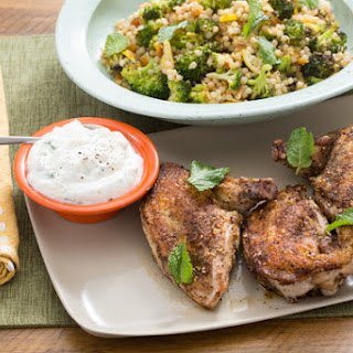 Za'atar Chicken Skewers & Lemon Yogurt Sauce with Roasted Broccoli, Apricots & Almonds