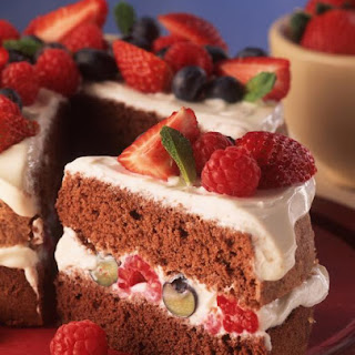 Chocolate Fruit Filled Sponge Cake.
