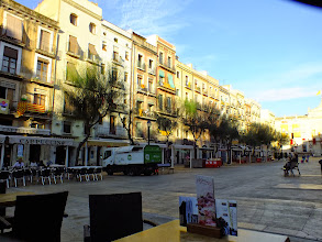 Photo: The Placa de la Font, early in the morning, freshly washed after the previous night's wild festival activities (the Santa Tecla Festival).