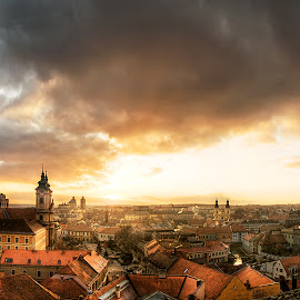 Hungarian Cityscapes III. by Zsolt Zsigmond - City,  Street & Park  Vistas ( clouds, hungary, houses, sky, church, sunset, wide, town, panorama, city )