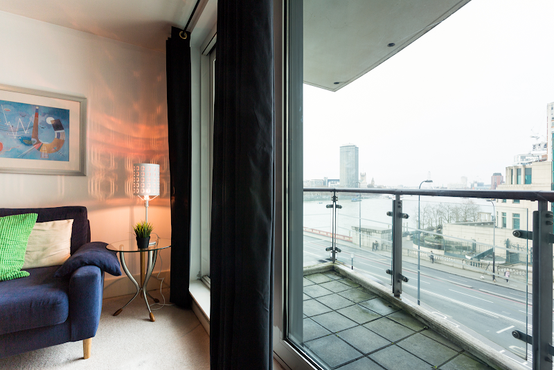 Living room at St George Wharf Serviced Apartments