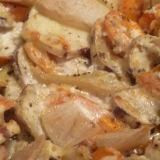 Sweet Potato, Goat Cheese Gratin.