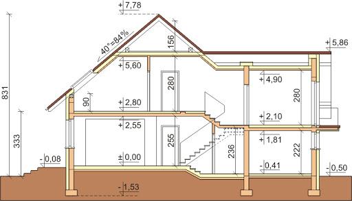 Dom przy Cyprysowej 10 - Przekrój