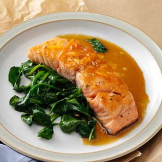 Orange Salmon with Sauteed Spinach