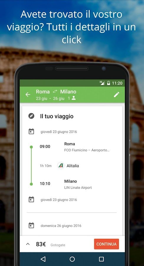 Liligo Voli, Treni e Bus- screenshot