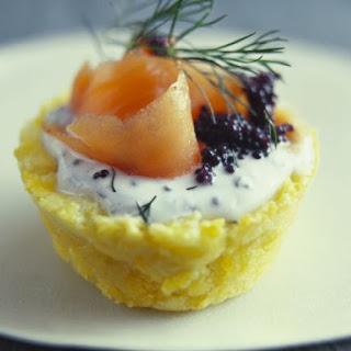 Smoked Salmon and Caviar Potato Cakes.