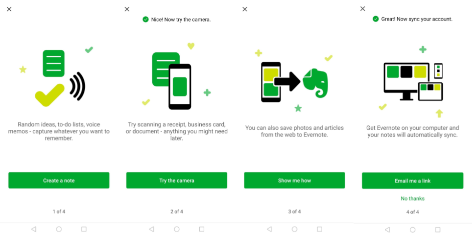Evernote App User Onboarding