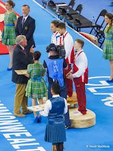 Photo: Glasgow 2014 Gymnastics Artistic Men's All-round Medal Ceremony. Max Whitlock (England) Gold, Daniel Keatings (Scotland) Silver, Nile Wilson (England (Bronze).