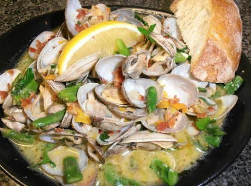 "Click Here for Recipe: Clams, Pancetta & Asparagus Bowl ""These were so..."