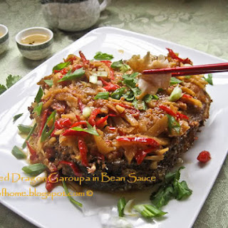 Chinese Pan-fried Fish (Dragon Garoupa) in Bean Sauce Recipe (煎龙胆) ~ Mom's