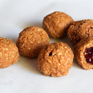 5-Ingredient Peanut Butter Jam Balls [Vegan].