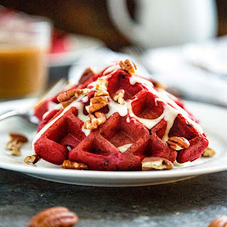 Red Velvet Waffles with Cream Cheese Glaze.