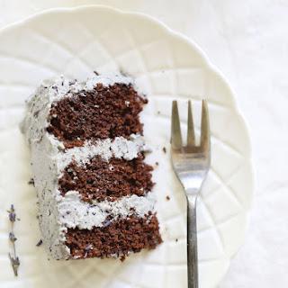 Gluten free Vegan Chocolate Lavender Aquafaba Cake