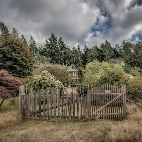 Heritage House by GThomas Muir - Landscapes Prairies, Meadows & Fields ( clouds, fence, ruckle park, gate, salt spring island )