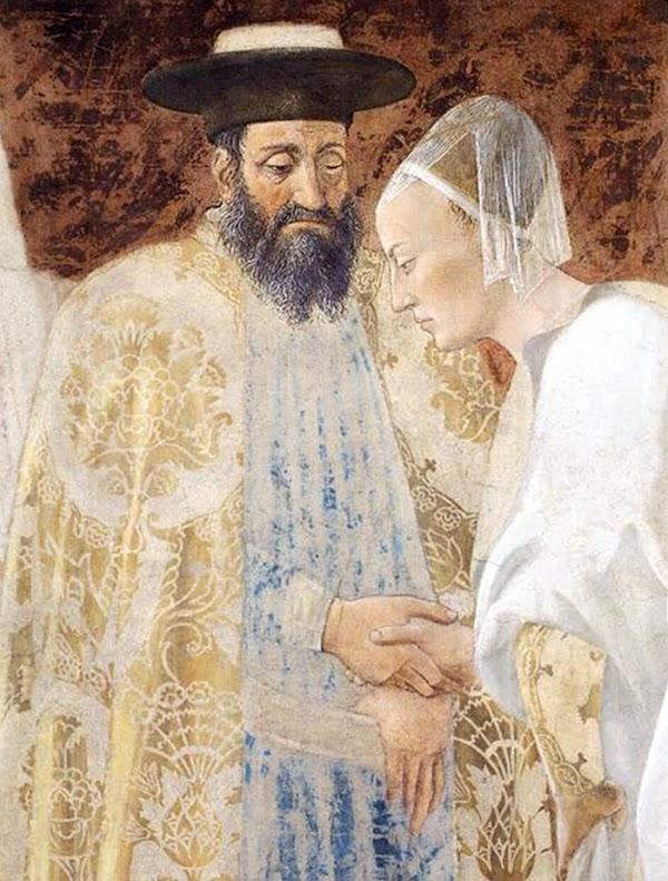 Piero della Francesca, Le Storie della Vera Croce, Incontro tra Salomone e la Regina di Saba (particolare Salomone e la Regina di Saba)