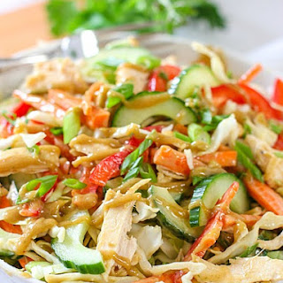 Crunchy Thai Chicken Salad with Peanut Dressing.