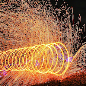 Fire Vortex by Anthony Drake - Abstract Fire & Fireworks ( light painting, night photography, spinning, fireworks, fire,  )