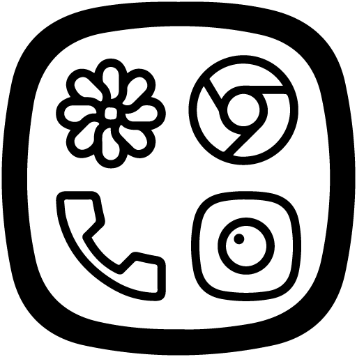 Squircle Lines Black - Icon Pack